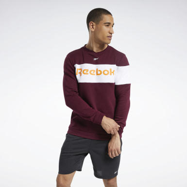 Men Fitness & Training Burgundy Training Essentials Fleece Crew Sweatshirt