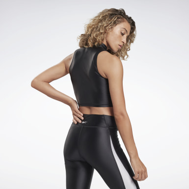 Women Cycling Black Zip Cropped Tank Top