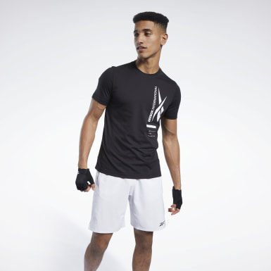 Men Training Black Graphic Tee