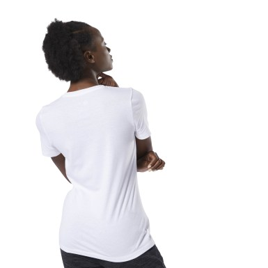 Women Fitness & Training White Crew Tee