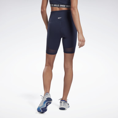 Frauen Studio Les Mills® Beyond the Sweat Bike Shorts Blau