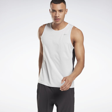 Men Hiking White Running Essentials Singlet