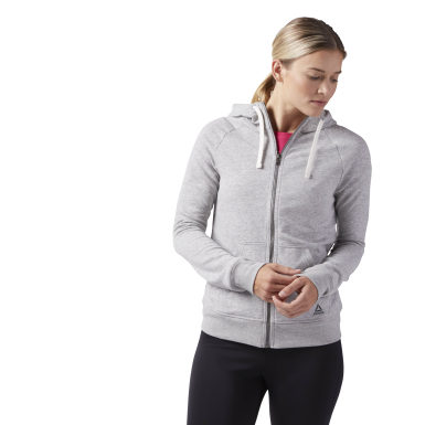 Sweat à capuche zip molletonné Reebok Training Essentials Gris Femmes Fitness & Training
