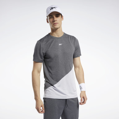 Men Studio Black Workout Ready Melange Tee