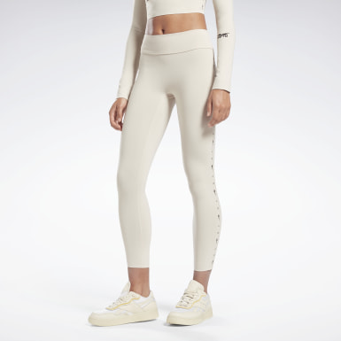 Mallas Logo VB - 7/8 Beige Mujer Fitness & Training