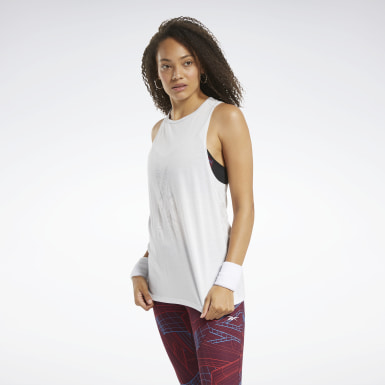 Women Training White Burnout Tank Top
