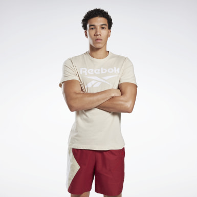 Men Fitness & Training Beige Graphic Series Reebok Stacked Tee