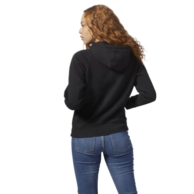 Women Classics Black Fleece Zip-Up Hoodie