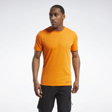 Men Hiking Orange Edgeworks Graphic Tee