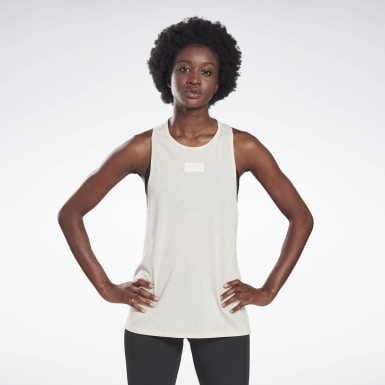 Women Yoga White LES MILLS® Burnout Tank Top