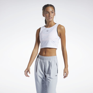 Women Studio White Les Mills® Perforated Crop Top