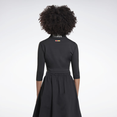Maglia a collo alto Reebok by Pyer Moss Embroidered Cropped Nero Donna Classics