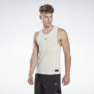 Men Yoga White LES MILLS® ACTIVCHILL+COTTON Tank Top