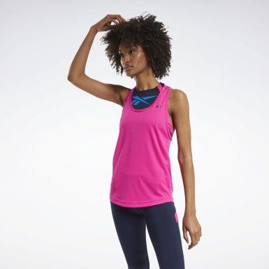 Women Cross Training Pink Mesh Back Tank Top