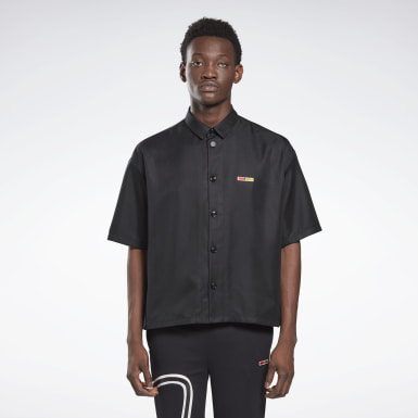 Classics Black Reebok by Pyer Moss Short Sleeve Cropped Button-Down Shirt