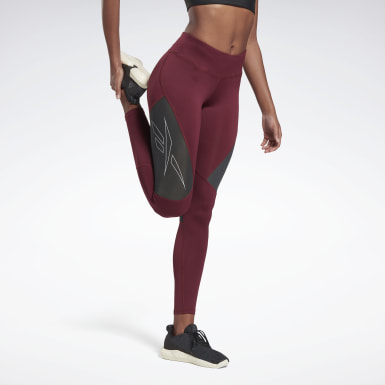 Women Trail Running Burgundy One Series Running Vector Tights