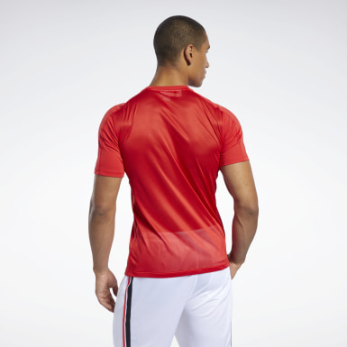 Men Hiking Red Workout Ready Polyester Tech Tee
