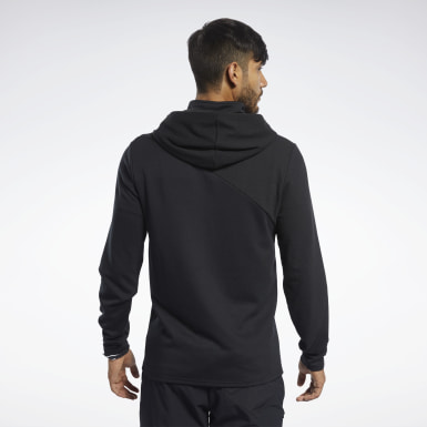Men Training Black Knit Control Hoodie
