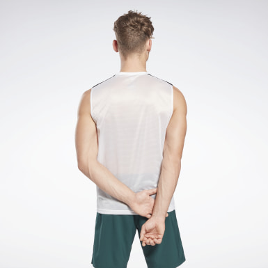 Men Training White Workout Ready Sleeveless Tech T-Shirt