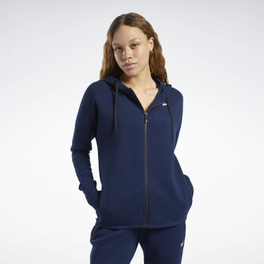 Bluza z kapturem United by Fitness Doubleknit Full-Zip Niebieski