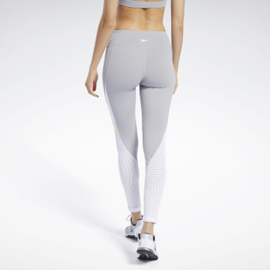 Women Yoga Grey Reebok Lux Colorblock Tights 2.0