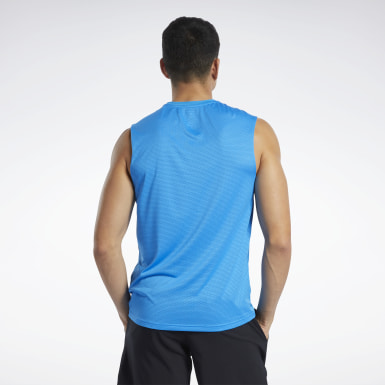 Men Fitness & Training Blue Workout Ready ACTIVCHILL Sleeveless Tee