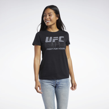 Women Fitness & Training Black UFC Fan Gear Logo T-Shirt