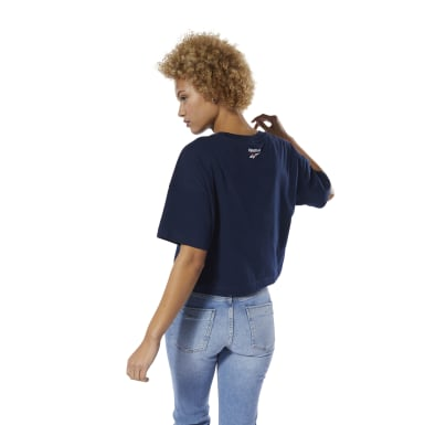 Women Classics Blue Classics All Over Vector Crop Tee