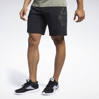 Men Cross Training Black Reebok CrossFit®  Epic Base Large Branded Shorts