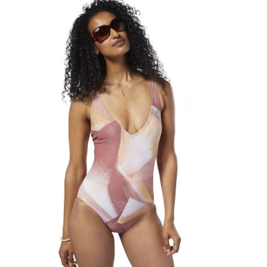 Women Training Pink LF Graffiti Plunge One-Piece Swimsuit