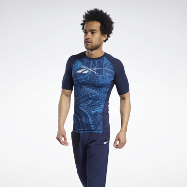 T-shirt Compression Printed Short Sleeve Blu Uomo Trail Running