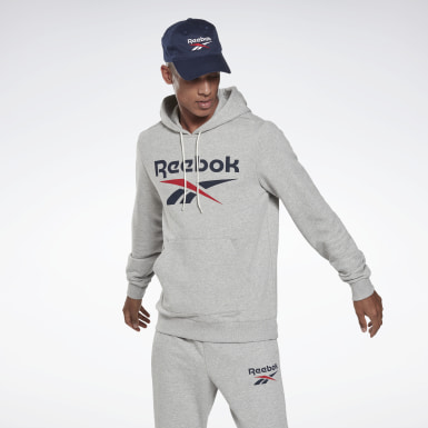 Men Training Grey Reebok Identity Big Logo Hoodie