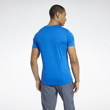 Heren Fitness & Training Blauw Graphic Series Linear Logo T-shirt