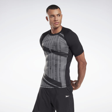 Men Fitness & Training Black Printed Short Sleeve Compression Top