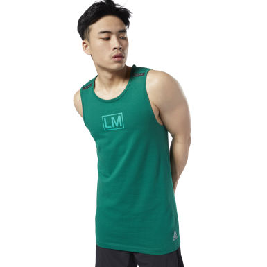 Men Cycling Green LES MILLS® Performance Cotton Tank Top