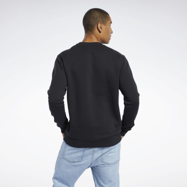Men Classics Black Classics Linear Crew Sweatshirt