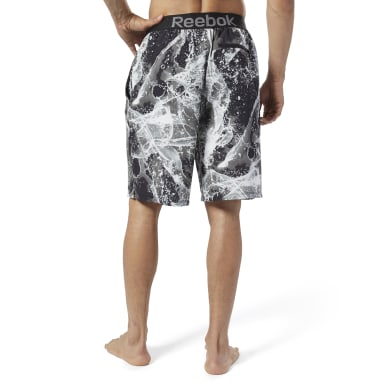 Men Swim Black Reebok Jacquard E-Board Shorts
