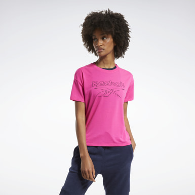 Women Cross Training Pink Workout Ready Supremium Slim Fit Big Logo Tee