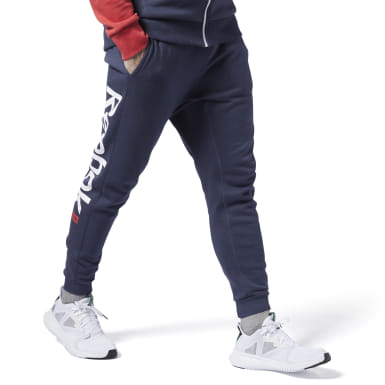 Heren Fitness & Training Blauw Training Essentials Logo Joggingbroek