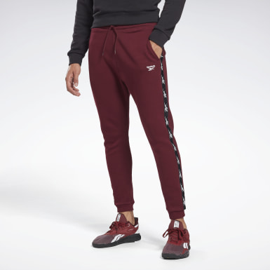Men Fitness & Training Burgundy Training Essentials Tape Jogger Pants