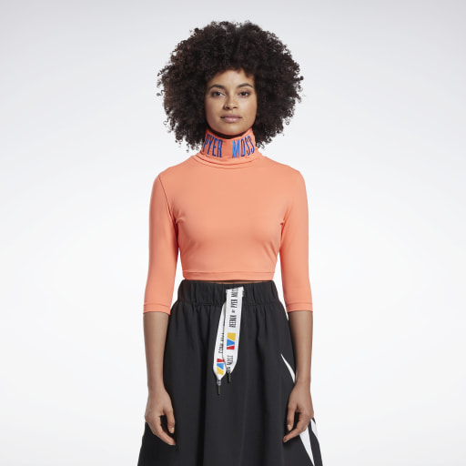 Reebok by Pyer Moss Embroidered Cropped Mock Neck Sweatshirt