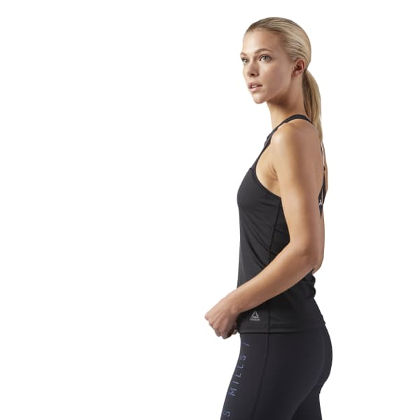 612366179bc67 Reebok LES MILLS® Tank With Built In High Support Sports Bra - Black ...