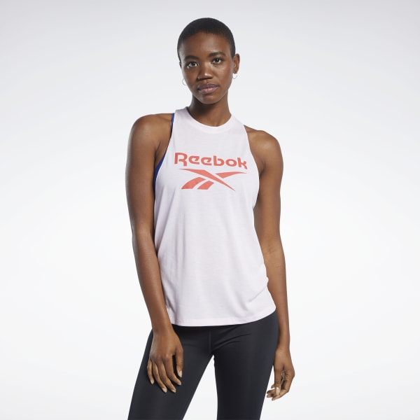 Reebok Damen Workout Ready Supremium Logo Top Weiß