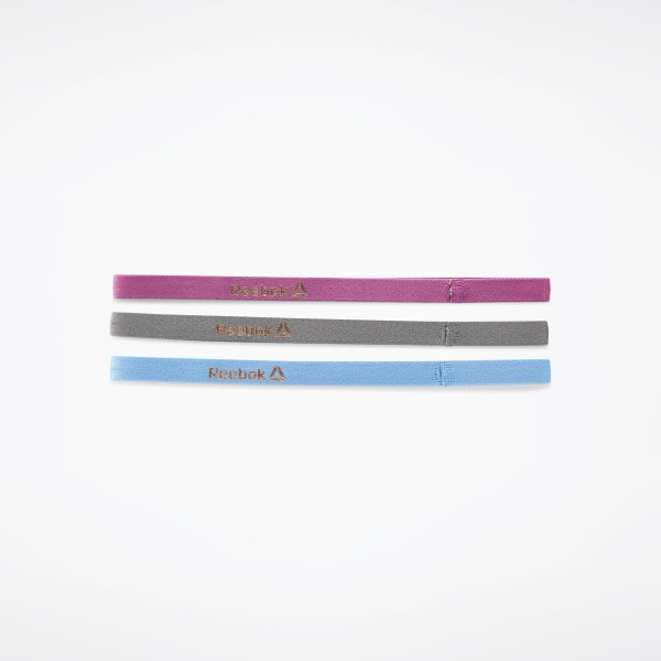 Sports Hair Bands - Metallic Blue, Berry, Grey (3 pack)