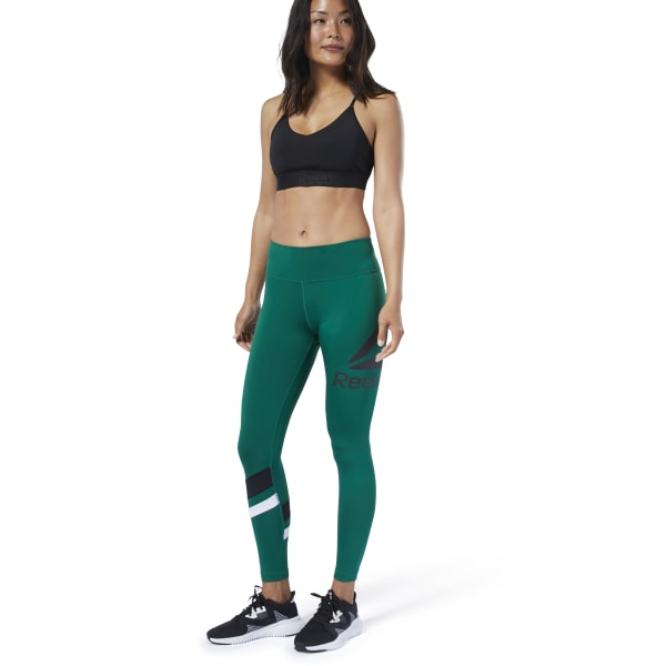 a8766108c6 Reebok Workout Ready Big Logo Tights - Green | Reebok Ireland