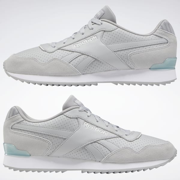 Reebok LEATHER Suede Royal Glide Ripple Clip Grey White Classic Men/'s Trainers