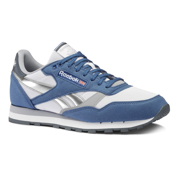 leather reebok femmes blue trainers