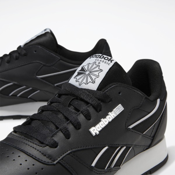 Reebok Classic Leather Mu Mens Black Leather Low Top Sneakers Shoes