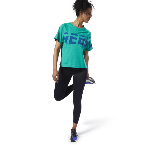 Reebok Meet You There Graphic Tee Green | Reebok Australia