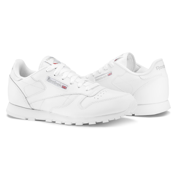 junior reebok classic leather trainers in blanche